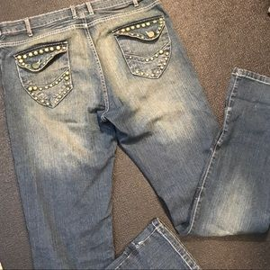 Mens Man Zone Studded Jeans 34x34